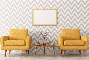 Mustard colour chairs with zigzag walpaper background