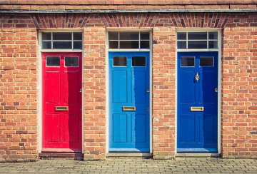Red, blue and dark blue doors